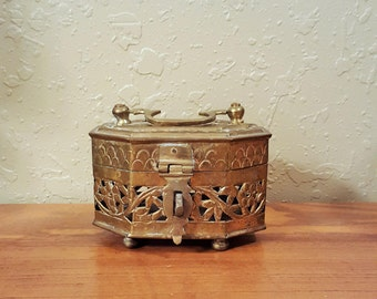 Vintage brass very ornate cricket box.  Large ornate brass trinket box with handle.