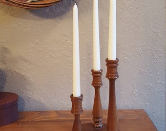 Vintage wooden 3 candle candelabra.  Large round 3 tier candle holder.