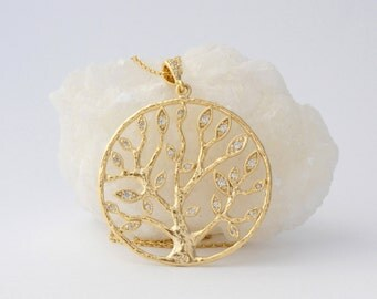 Tree-Of-Life Necklace Crystal Tree-Of-Life Pendant Gold Tree Necklace Tree-of-life Jewelry Diamond Tree Necklace Family Tree Necklace CZ