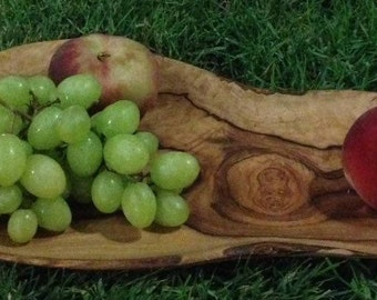 Handmade olive wood serving plate, hand carved wooden serving plate for fruit, cheese snacks