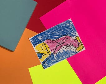 Weeping Man - Oil Pastel Original Illustration