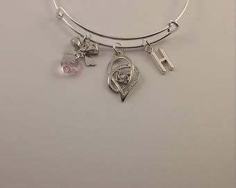 Heart bowknot heart charm bangle