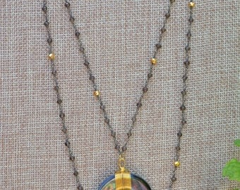 Crescent Moon Shell Necklace- boho