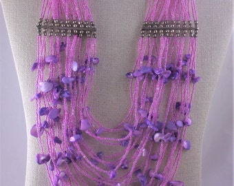Seed Bead Vintage Statement Necklace, Multi 20 Strand Bib Style, Orchid Pink MOP Beads