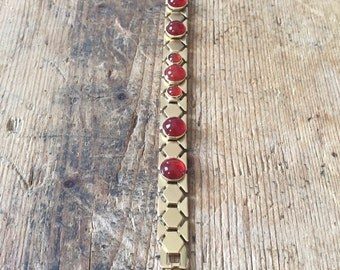 Chenille plated mesh chain bracelet gold and carnelian