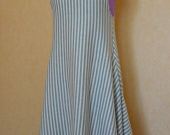 Jersey Sleeveless tunic. Grey / white