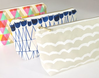 Cosmetic pouch, make up bag, zipper pouch, travel pouch, coin purse, zipper wallet, pencil case, japanese fabric, cotton