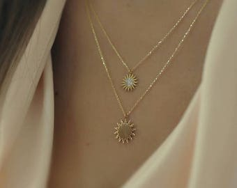 14K Gold Necklace, Gold Sun Necklace Available in 14k Gold, White Gold or Rose Gold