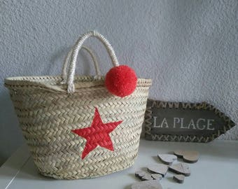 Beach basket hearty, Red Star and tassel