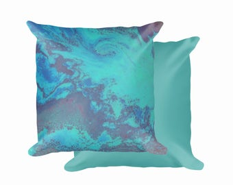 "Teal Abstract, Square Pillow Cover, 18""x18"" (Pillow Included)"