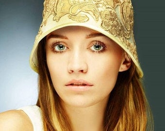 1920 gold appliqué felt wedding cloche hat
