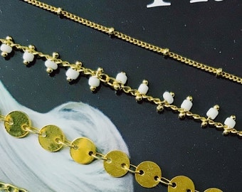 """The """"Party"""" Choker (White hanging bead charms)"""