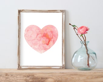 Pink Watercolor Heart Print, Nursery Wall Art,  Pink Nursery Decor, Pink Nursery Art, Pink Wall Art, Pink Painting, Nursery Watercolor print