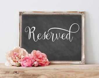 Reserved Chalkboard Wedding Reserved Sign, Reserved Wedding Sign, Reserved Table Sign, Reserved Signs For Wedding, Reserved Sign Printable