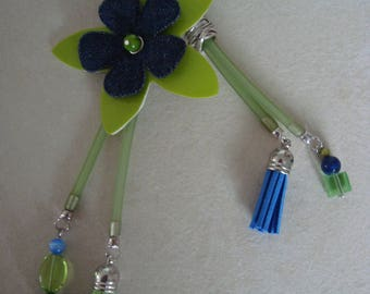 Original blue green necklace with flower