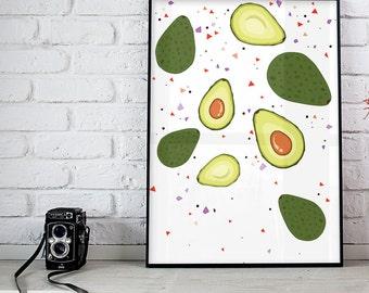 Avocado Print, Guacamole Printable, Kitchen Wall Art, Fruit Print, Vegetarian Print, Vegan Print, Digital Art Prints, Kitchen Wall Decor