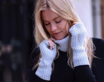 Ladies fingerless cashmere mittens - longer wrist warmer length