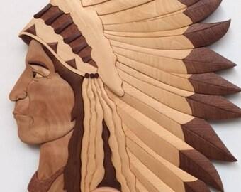 Indian Chief Intarsia