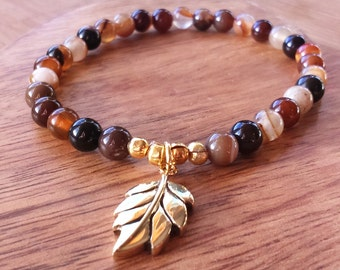 Cappuccino Agate Stretchy Bracelet, with Brass Leaf Charm, Agate Bracelet, Agate Jewellery, Leaf Jewelry, Nature Jewellery, Stacked Bracelet