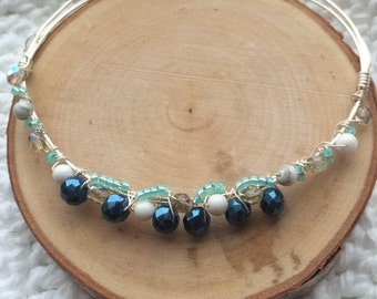 Blue and Silver Bangle Bracelet