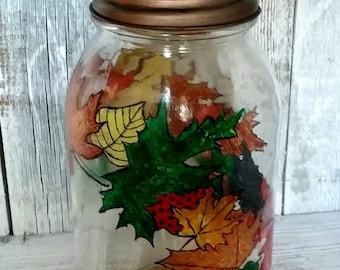 HP Autumn Leaves  Mason Jar Art