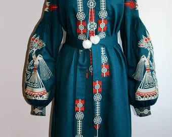 Bohemian Dress Boho Dresses Boho chic Vyshyvanka Custom Embroidery Ukrainian Clothing Kaftan Dubai Long Abaya Ethnic Ukraine Vishivanka