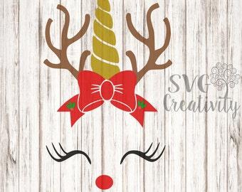 Reindeer Unicorn with Bow SVG, Rudolph Unicorn SVG