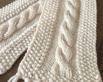 READY TO SHIP Knitted cream cable scarf - handmade, winter scarf, accessories, clothing