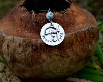Scuba Life Necklace - Scuba Diving Necklace - Snorkel Pendant - Scuba Diving Jewelry - Scuba Pendant - PADI - Diver Necklace - Scuba Jewelry
