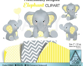 Gray Elephant Clip art, Baby Yellow grey peanut clip art, png. Nursery, Baby Shower,birthday,gender neutral, instant download commercial use