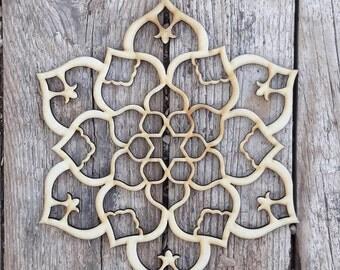 Wood Wall Art, Mandala Decor, Moroccan Decor, Bohemian Wall Decor, Lotus  Decor