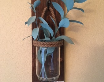 Blue, white and dark wood Wall Flower Vase with Glass Jar and Twine - Repurposed Cedar Wood Fence Plank - Great for all living spaces