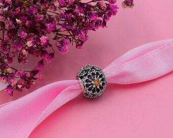 Clear CZ Round flower beads, Pandora Bracelet rhinestone Charm beads, 925 Sterling Silver Snake Chain Bracelet DIY Jewelry rhinestone flower