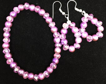 Pink Crystal Bracelet and Earrings