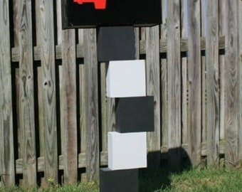 Stacked Blocks (black & white) Fun Mailposts