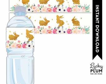 Bunny Water Bottle Label / Rabbit Water Bottle Label / Bunny Rabbit Napkin Ring / Woodland Pink Gold Floral Flower / Digital Printable RB01