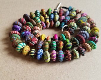 Snail Stacker Necklace - Handmade Striped Polymer Clay Beads