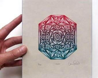 Jewel - Woodcut Print, Woodblock Print by Tugboat Printshop, Valerie Lueth