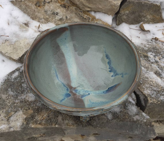 large ceramic serving bowl in slate blue and brown