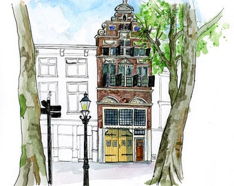 "Deventer, Netherlands: 11x17"" Archival Print of Watercolour Travel Plein Air Landscape Painting"