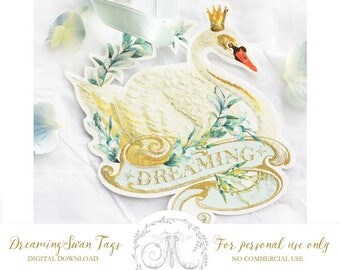 Swan, dreaming, printable gift tags, Christmas gift tag, party favours, cake topper, instant digital download, Personal use only