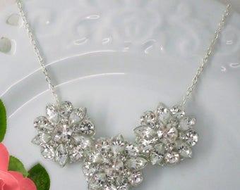 Wedding Necklace, Crystal Silver, Bridal Necklace, Statement Necklace, Wedding Jewelry, Bridal Jewelry, Bridesmaids Gift
