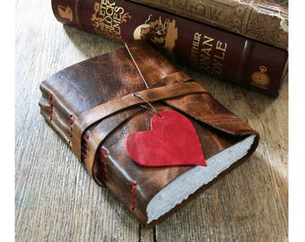 """Leather Journal . """"i carry your heart with me"""" - ee cummings . handmade handbound . brown w/ red heart & stitching (320 pgs)"""