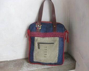 Recycled Bag, Canvas Bag, Ethnic Bag, Shoulder Bag, Tote Bag, Patched Bag, Denim Bag, Embroidery Shoulder Bag, Khaki Bag, Boho Ethnic Bag