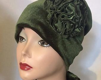 Olive Green Velvet Satin lined Hat