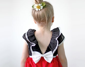 Mini Dot Dress, Red and Black Dress, Toddler Dress, Girls Dress, Birthday Dress, Polka Dot Dress, Toddler Birthday Dress, Girls Birthday
