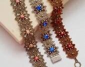 Beading Kit and Tutorial. Gazing Stars Bracelet, with Swarovski Crystals and Seed Beads. An Original Smadar Grossman Beadweaving Design