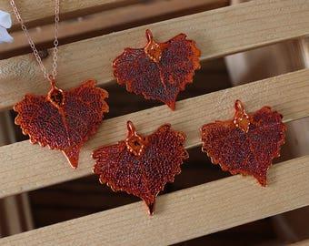 Copper Cottonwood Leaf Necklace, Real Leaf Necklace, Heart Shaped Leaf, Rose Gold, Leaf Necklace, Leaf Pendant LC218