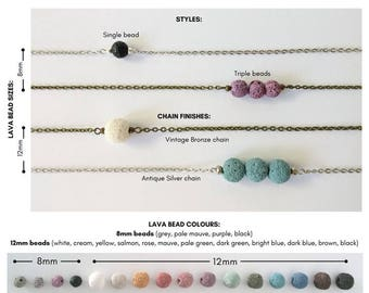 Custom Essential Oil Diffuser Necklace, You Choose Style Chain Colors, Lava Bead Aromatherapy Necklace, Customize, Songbird