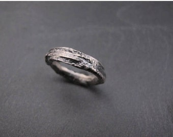 Sterling silver strong organic ring - Raw art- Metalwork - Made to order in your size - Unisex ring - Primitive Design - Solid